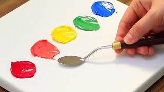 Simple Colorful Acrylic Painting on Canvas Step by Step #679|Satisfying Art ASMR