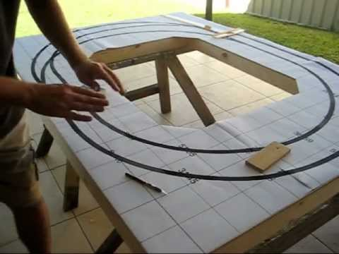 Setting out the trackwork for portable model railroad layout