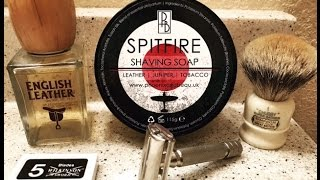 Phoenix & Beau- Spitfire Shavesoap. Simpson Chubby, HD500 Rocket, Wilkinson Sword & English Leather.