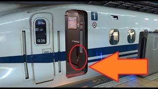 東海道新幹線N700系Advanceの1号車の最前部乗降口にある消火器