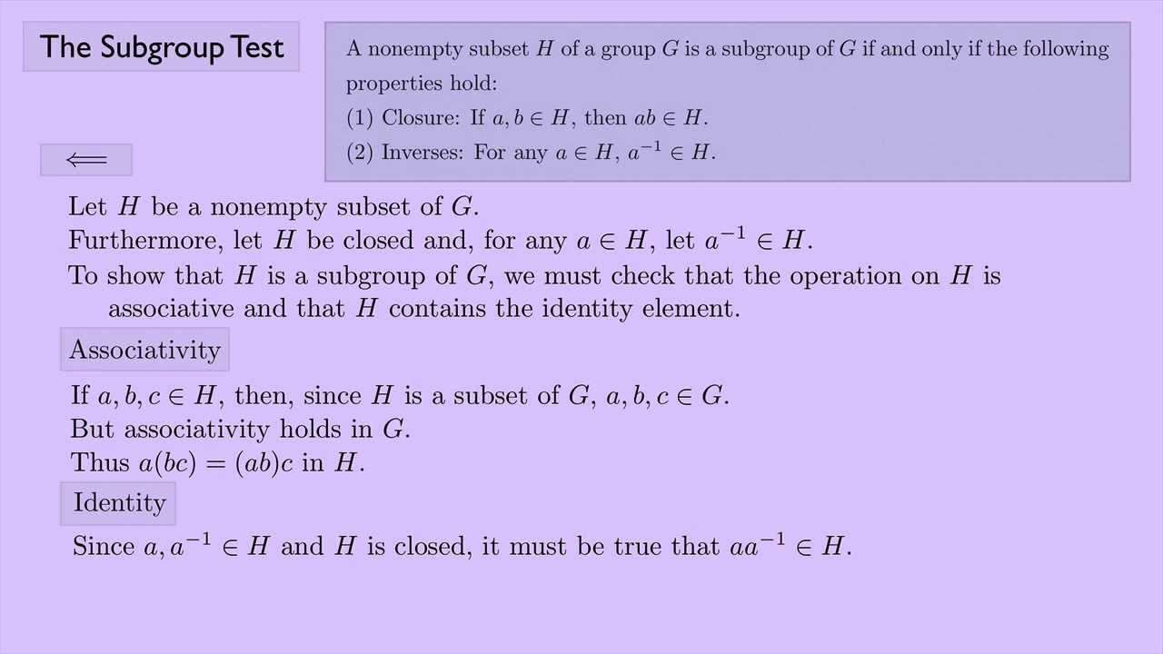 (Abstract Algebra 1) The Subgroup Test