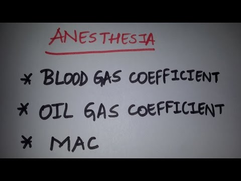 Anesthesia Simplified: Blood - Gas Coefficient, Oil - Gas Coefficient, MAC