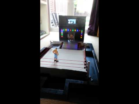 Homemade custom Elite Scale WWE Ring and arena for Mattel Wrestling action figure toys