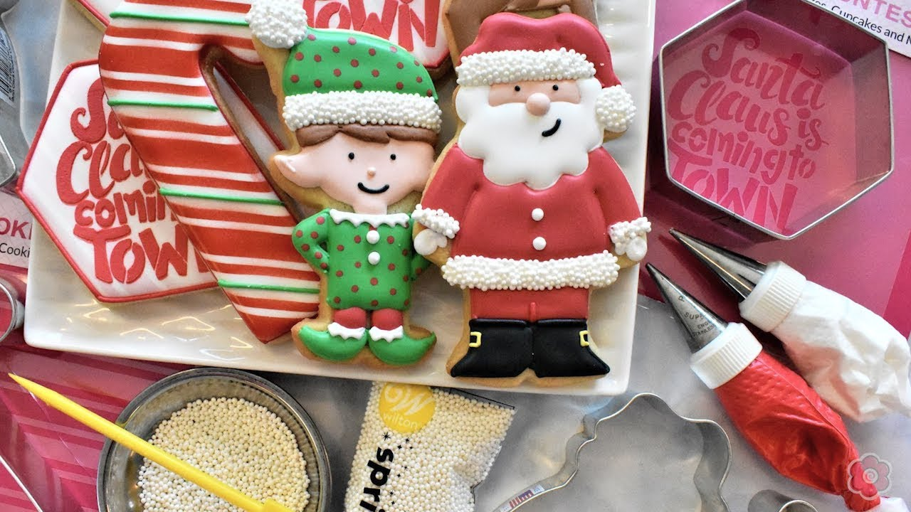 How to Decorate Santa & Christmas Cookies - FIVE Designs!