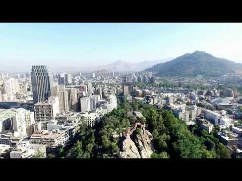 Phantom 3 Advanced aerial view at Cerro Santa Lucia Hill in Santiago, Chile