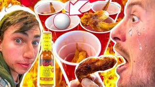 INSANE Spicy WING Pong CHALLENGE!! ( HOT ONES Last Dab )