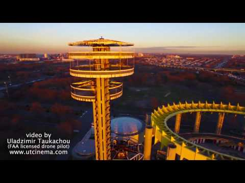 Corona Park observation tower Aerial stock footage 4k