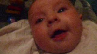 This is bailey 3 months old, talking to mummy.