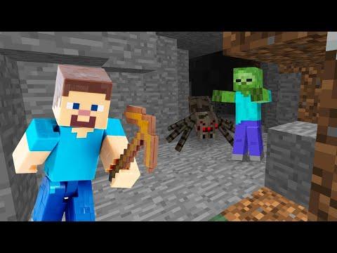 Видео обзор Minecraft - Исследуем пещеру! Месть Нуба Майнкрафт Мобам! – Лучшие игры онлайн.