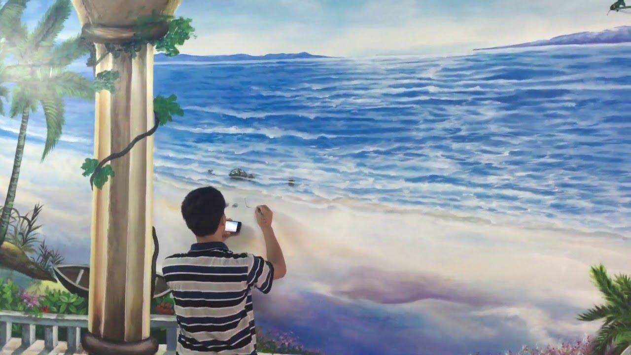 Vẽ tranh tường 3d phong cảnh biển chung cư linh đàm hh4c – painting art mural liên hệ 0908766656
