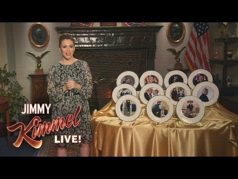 Alyssa Milano Presents Donald Trump Commemorative Plates
