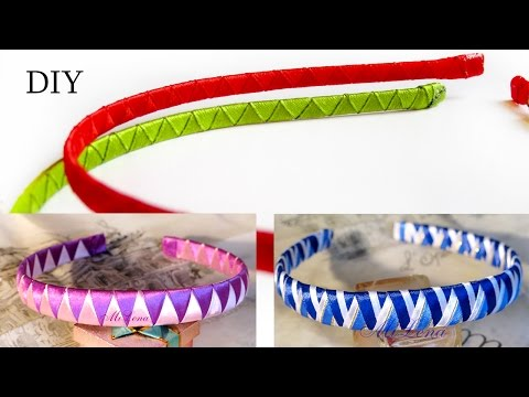 Как оплести ободок двумя лентами? МК / How to Make Ribbon Woven Headband