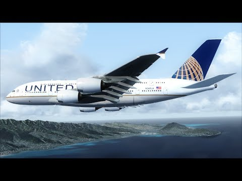 Best Of - FSX A380 arrival at Honolulu (Fictional livery) [AMAZING REALISM+GRAPHICS]