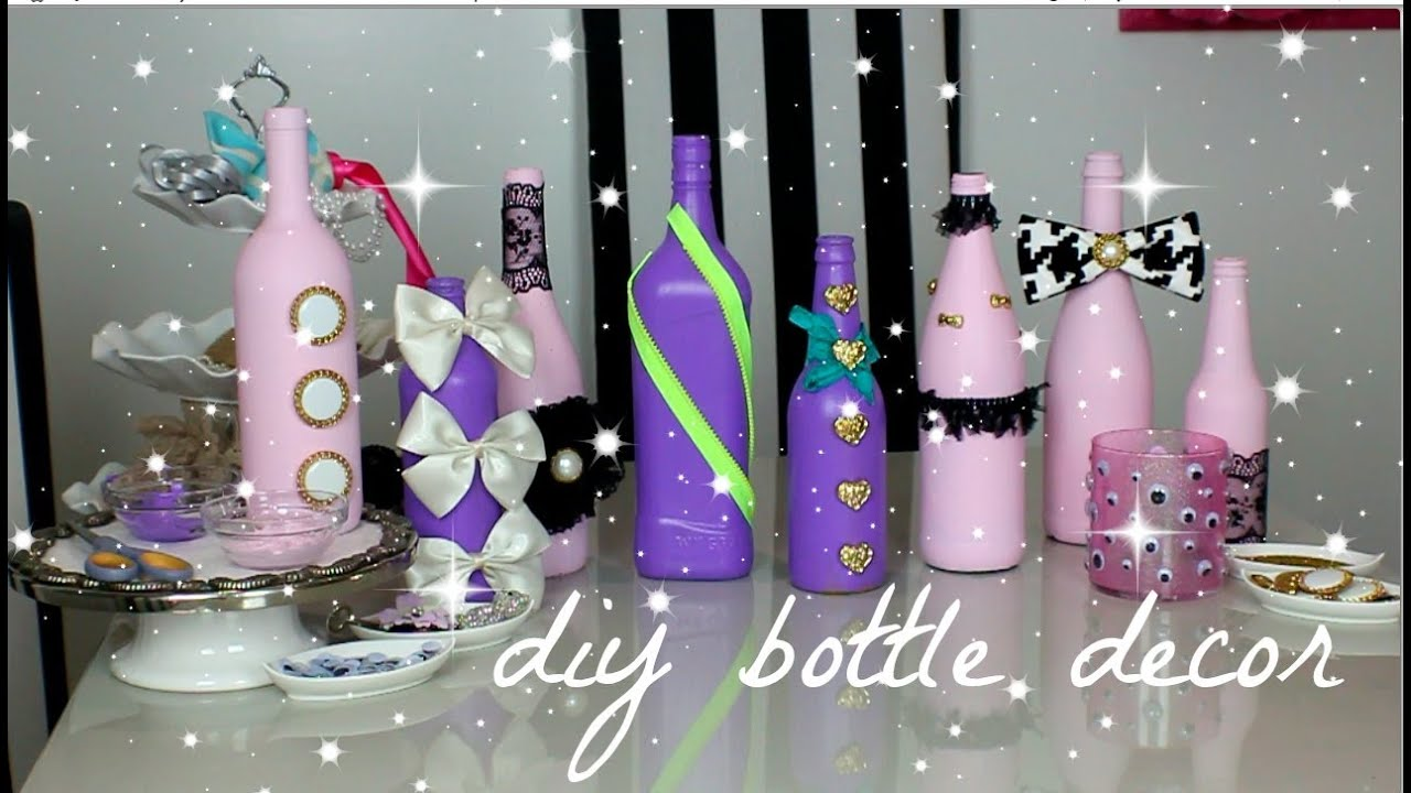 How to decorate glass bottles with decoupage diy recycle with art - Wine Bottle Decorations Diy Www Galleryhip Com The