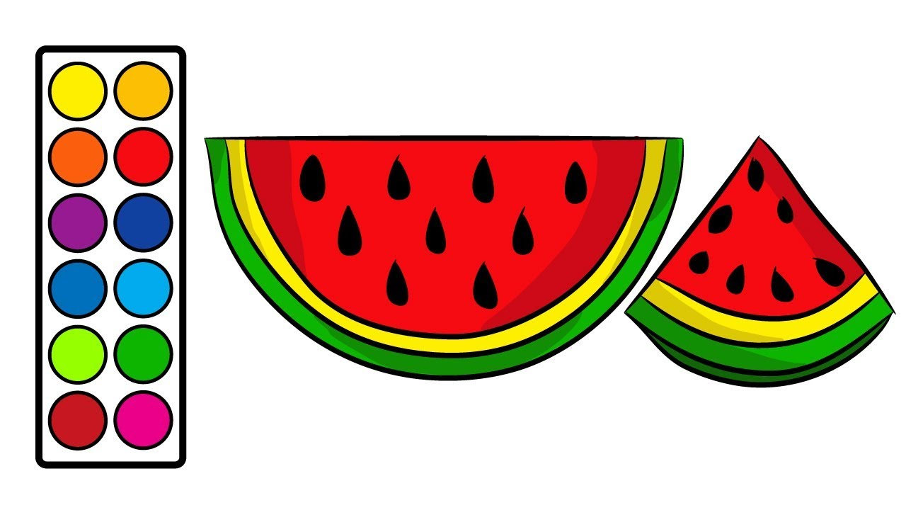 How To Draw Watermelon Slice Step By Step Easy For Kids Coloring