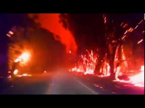 Driving through forest fire