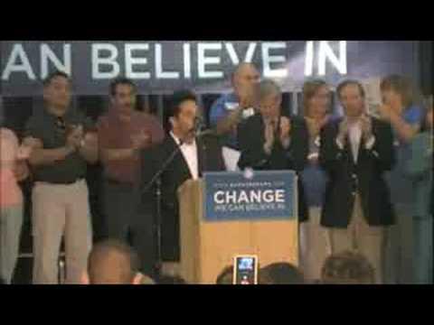 Ben Ray Lujan introducing Sen. Clinton in Espanola