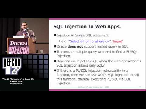 DEFCON 17: The Making Of The Second SQL Injection Worm