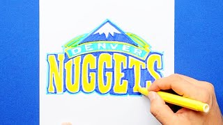 How to draw and color the Denver Nuggets Logo - NBA Team Series