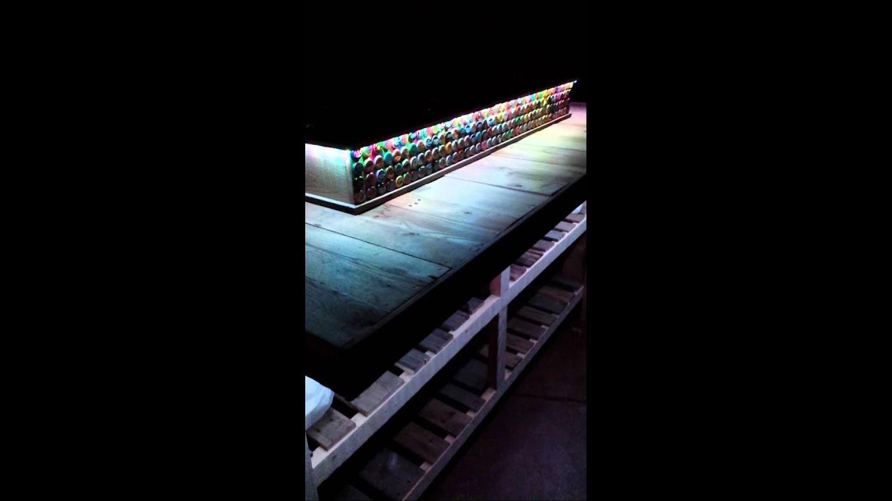 Led Lights On My Diy Reclaimed Pallet Wood Bar Youtube