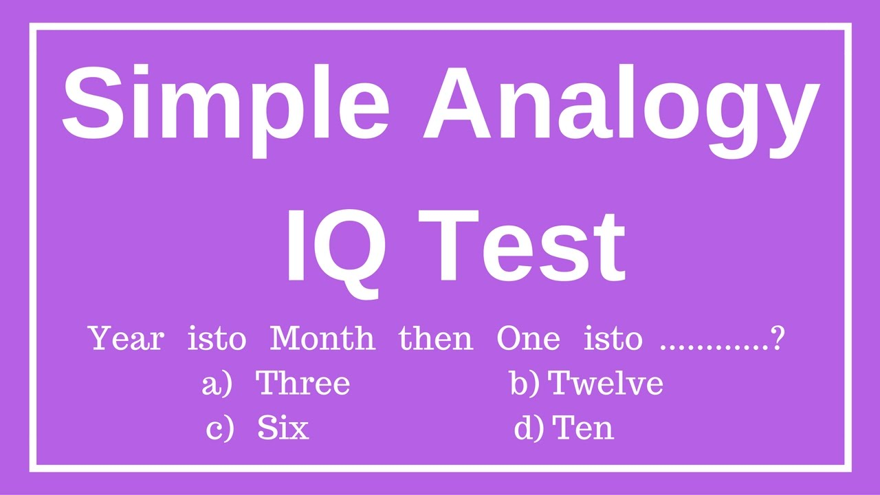 Simple Analogy Iq Test Verbal Intelligence Logical Reasoning