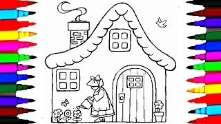 How to Draw House with a Doll Watering the Plants Coloring Pages Drawing Pages Videos for kids