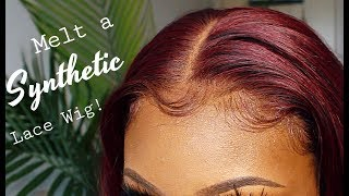 "HOW TO MELT A SYNTHETIC LACEFRONT WIG FT. IT'S A WIG &quotDARA"" PISCESFINEST"
