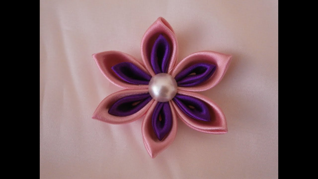 Kanzashi flower tutorial  How to DIY ribbon flowers kanzashi flores     Kanzashi flower tutorial  How to DIY ribbon flowers kanzashi flores de cinta