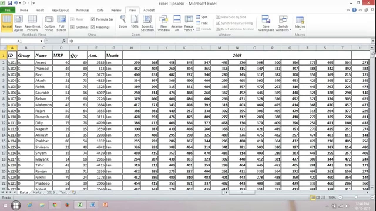 Freeze Or Lock Row And Column Separately Or Together In Excel Youtube
