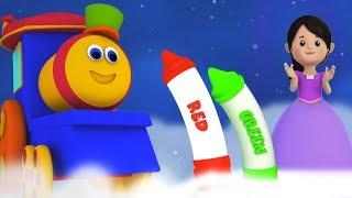 Bob поезд мелки цвета песня узнать имена цветов образовательная песня Bob Crayons Colors Song