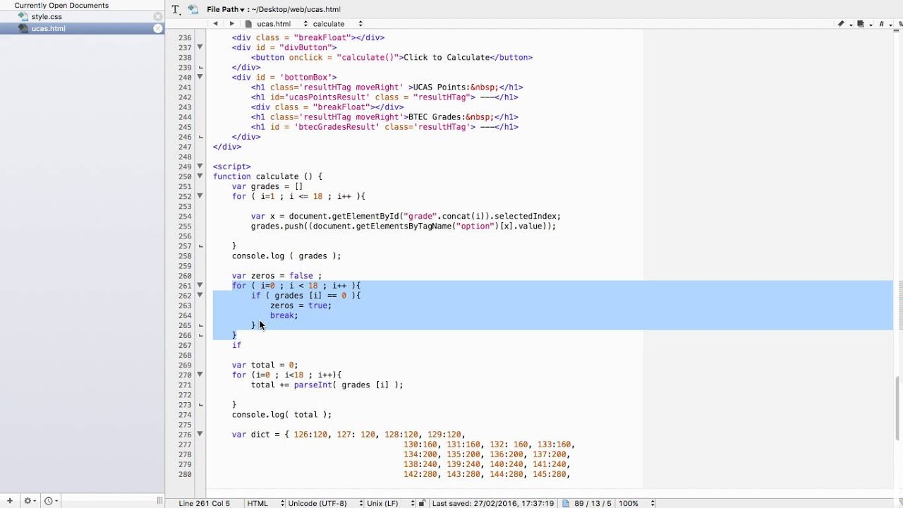 ucas calculator project javascript code part 13 ucas calculator project javascript code part 13