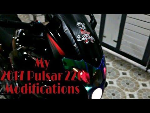 My 2017 pulsar 220f full modification stickering lighting my camera and helmet