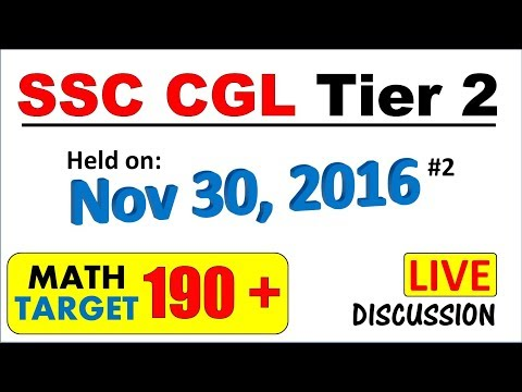 SSC CGL Tier 2 Previous year paper held on Nov 30, 2016 Fully solved (Part 1)
