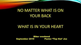 No Matter What is on Your Back, What is in Your Heart?