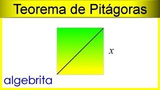 Hallar el lado de un cuadrado si conocemos una diagonal Teorema de Pitágoras 355