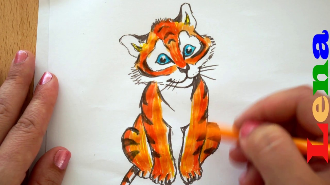 Tiger Zeichnen Malen Für Kinder How To Draw A Tiger как нарисовать тигрёнка