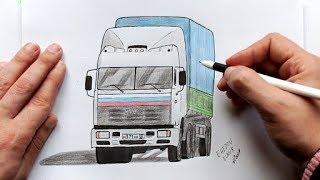 Как нарисовать Камаз из сериала Дальнобойщики(Ehedov Elnur)How to Draw a Truck