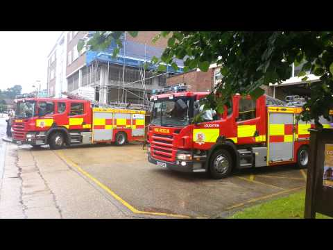 Loughton fire station open day. Fire crews get called out.