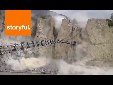 Landslide at Historic Suspension Bridge in Pakistan's Gilgit-Baltistan Region (Storyful, Weather)