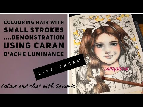 Livestream - colouring hair with small strokes in your colour books