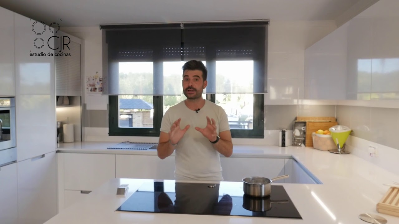 Cocina moderna con península blanco brillo Santos CJR - YouTube