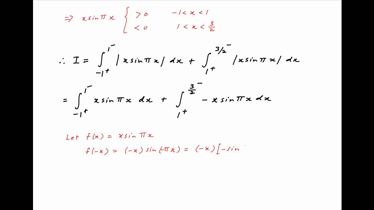 Find The Integral Of X Sin Pi X Between The Limits 1