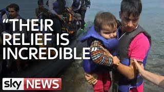 Boat Packed With Refugees Arrives In Lesbos