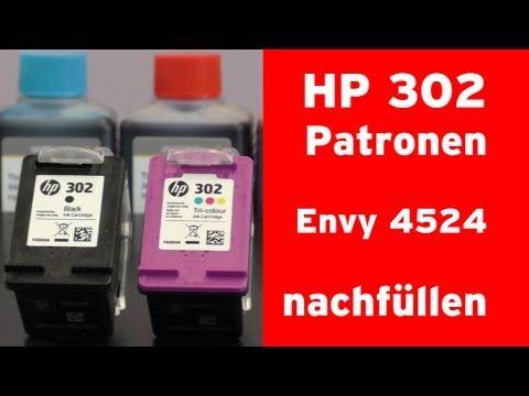 wie f llt man eine hp 302 tintenpatrone nach hp envy 4524 youtube. Black Bedroom Furniture Sets. Home Design Ideas