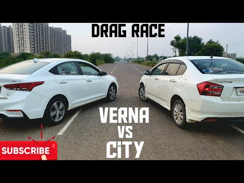 Hyundai Verna (D) Vs Honda City (P) | Drag Race | Drive King