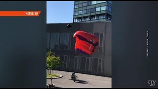 Бейсджампер сломал ноги при прыжке. Норвегия. Видео