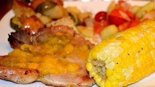 How To Recipe For Brining A Pork Chop For 24 Hours, Grilling It, And Adding My Mango Peach Salsa