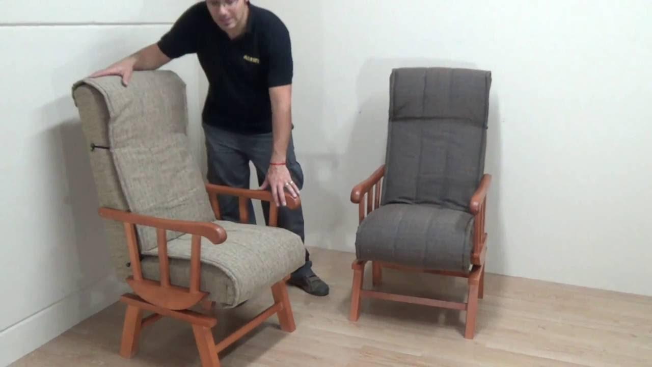 Sill n balanc n de madera maciza color cerezo acolchado y - Como tapizar un sillon ...