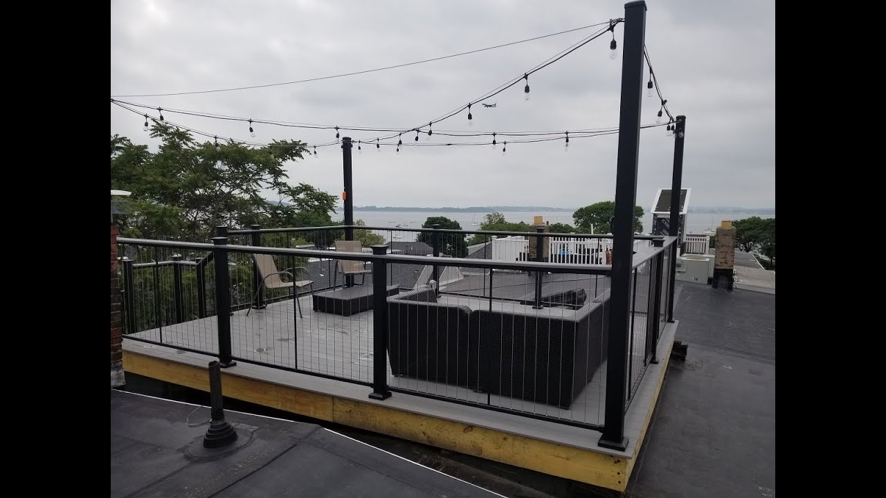 Southie Roof Deck On O Street With Cable Rails And Spiral   Spiral Deck Mate Stair   Powder Coated   Trex Spiral   Stair Treads   Stair Case   Staircase Kits