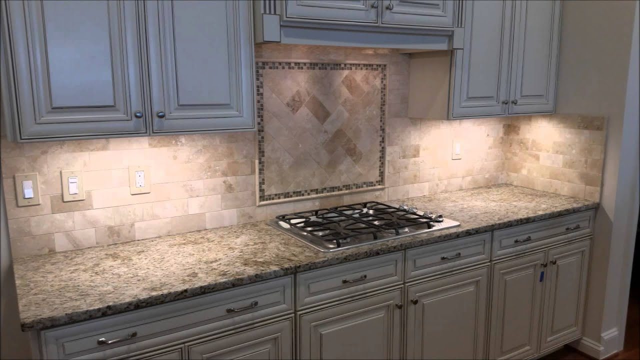 Travertine Backsplash with Herringbone Inlay - YouTube